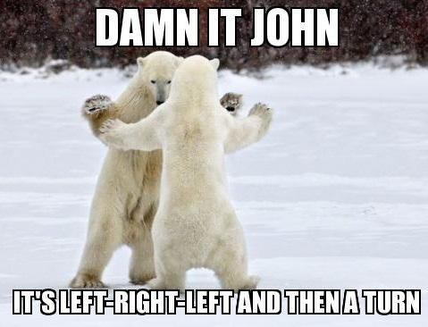 damn it john, it's left right left and then a turn, polar bears dancing, meme