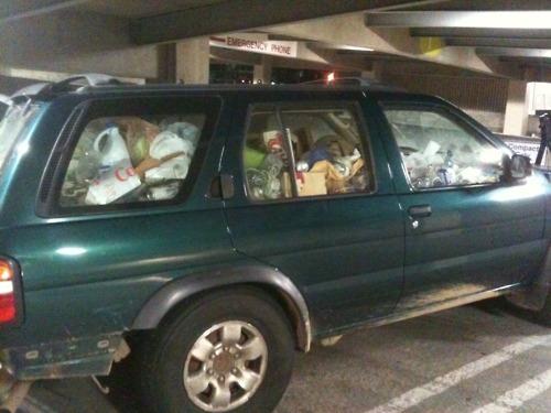 car, garbage, full, wtf, station wagon