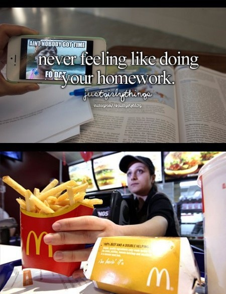 justgirlythings, mcdonald's, homework