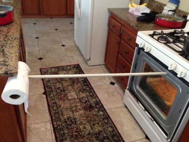sketchy, oven, broken, fixed, paper towel, broom stick