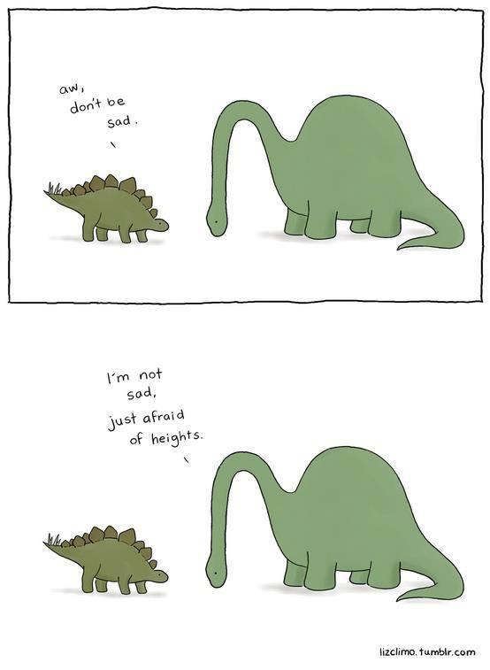 dinosaur, sad, afraid of heights, comic