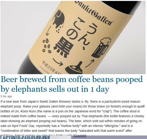 elephants, coffee, beans, article, wtf, beer
