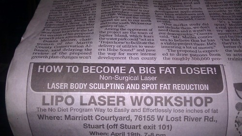 ad, newspaper, big fat loser, laser