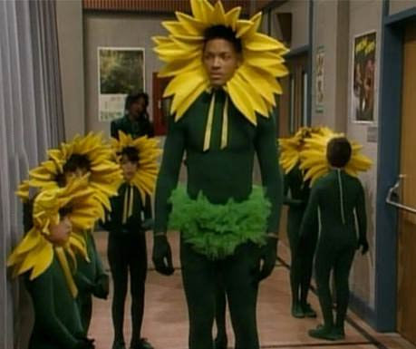 will smith dressed in a sunflower costume, fresh prince