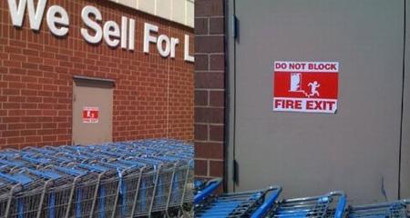 door, sign, blocked, fire exit, fail