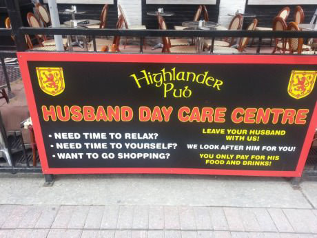husband day care center, pub, bar