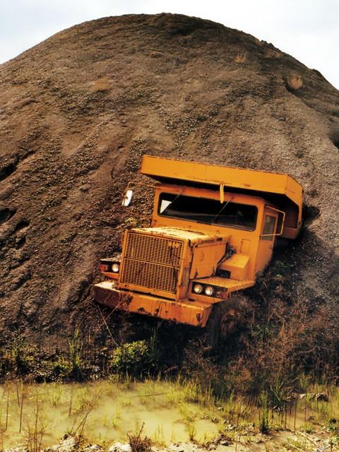 truck, dirt, pile