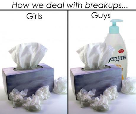 how we deal with breakups, girls versus guys, kleenex and jergens