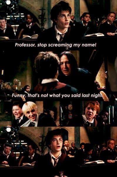harry potter, screaming, name, professor, joke