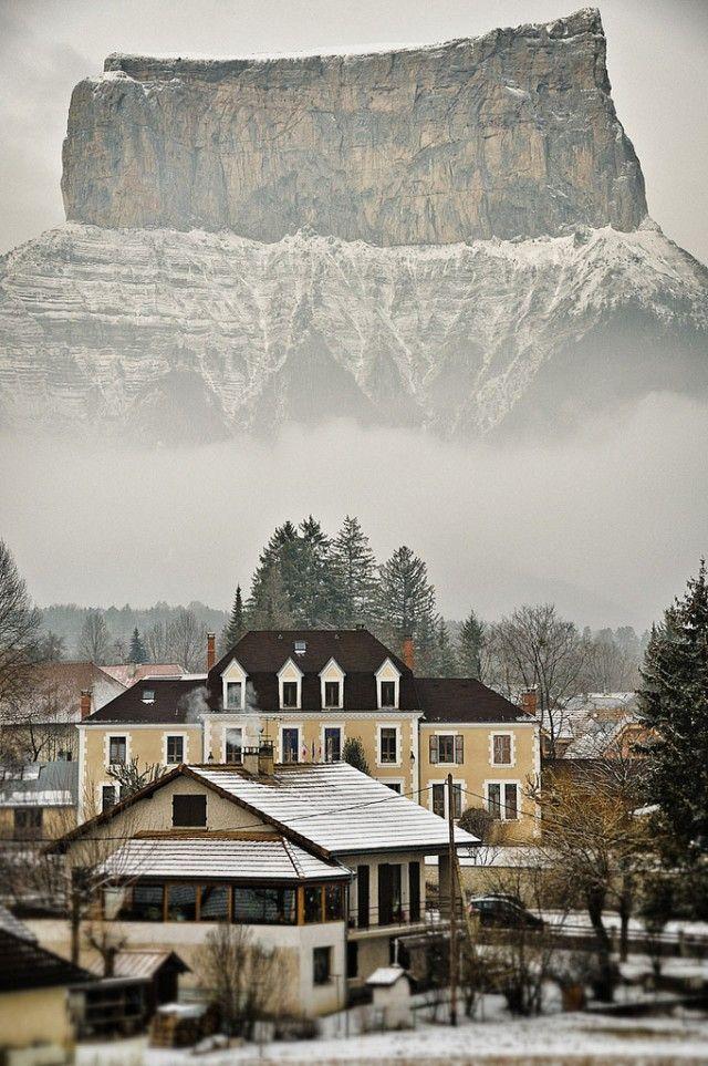 houses, mountain, fog, snow, wow, nature