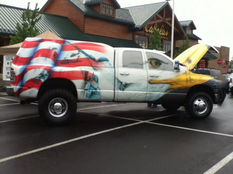 van, truck, flag, usa, 'murica
