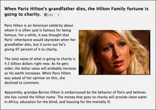 when paris hilton's grandfather dies, the hilton family fortune is going to charity, paris hilton crying