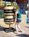 giant burger, girl, huge