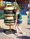 giant burger, girl, huge