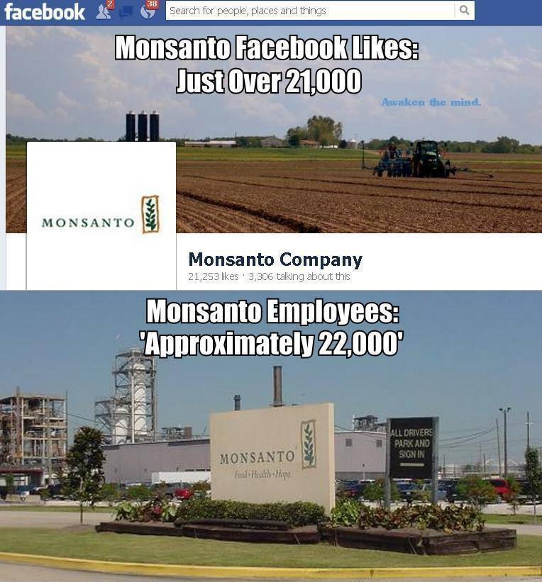monsanto, facebook, likes, employees