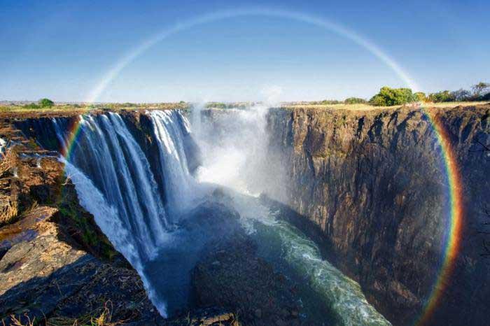 rainbow, victoria falls, nature, scenery