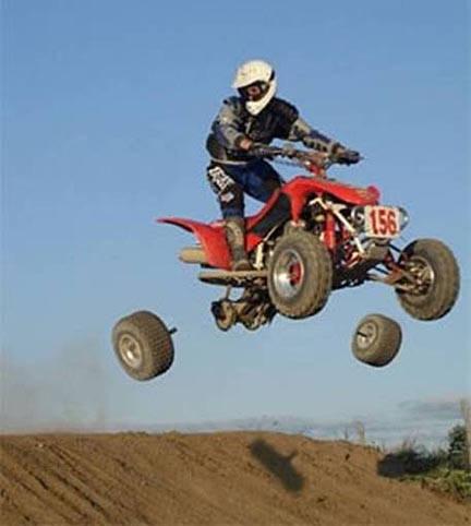 four wheeler race, wheels, break, timing, fail