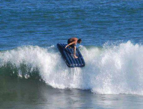 surfing, air mattress, wave