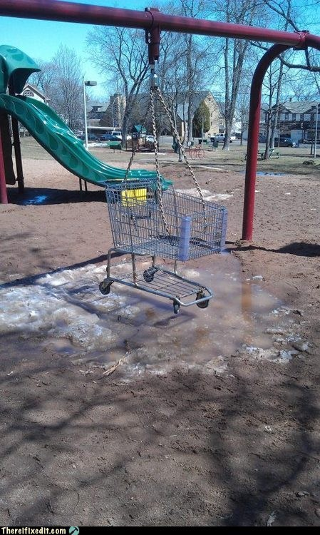 shopping cart, swing, park, wtf