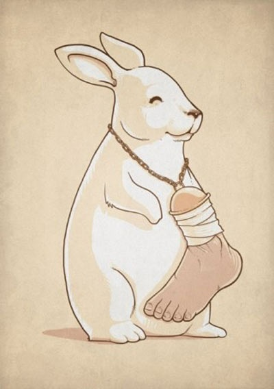 rabbit, human foot, luck, meanwhile in a parallel universe, wtf