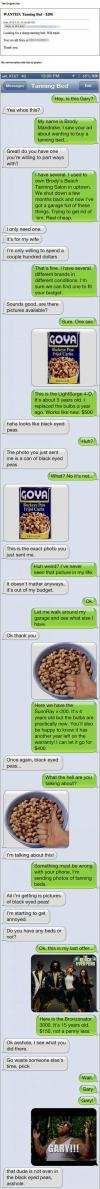 troll, tanning beds, craigslist, ad, texts, conversation, lol
