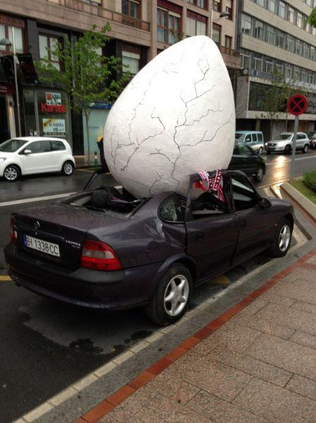 car, egg, wtf, damage