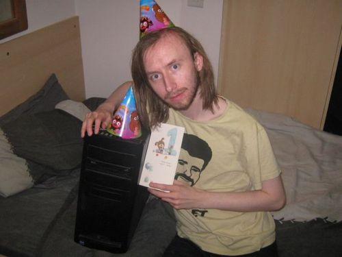 birthday, hat, computer