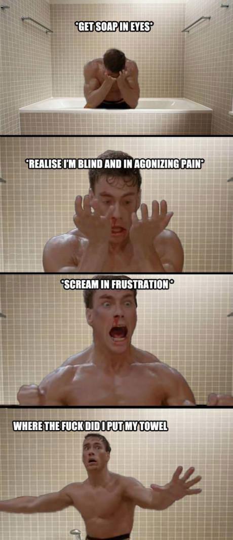shower, jean claude van dame, blind, soap