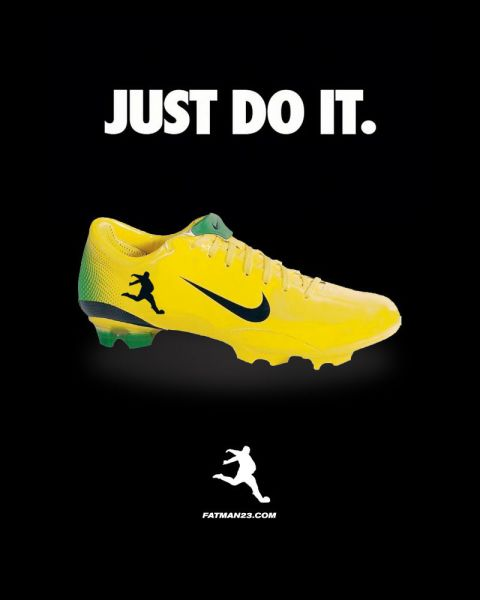 soccer shoe, fat, kick, logo, just do it