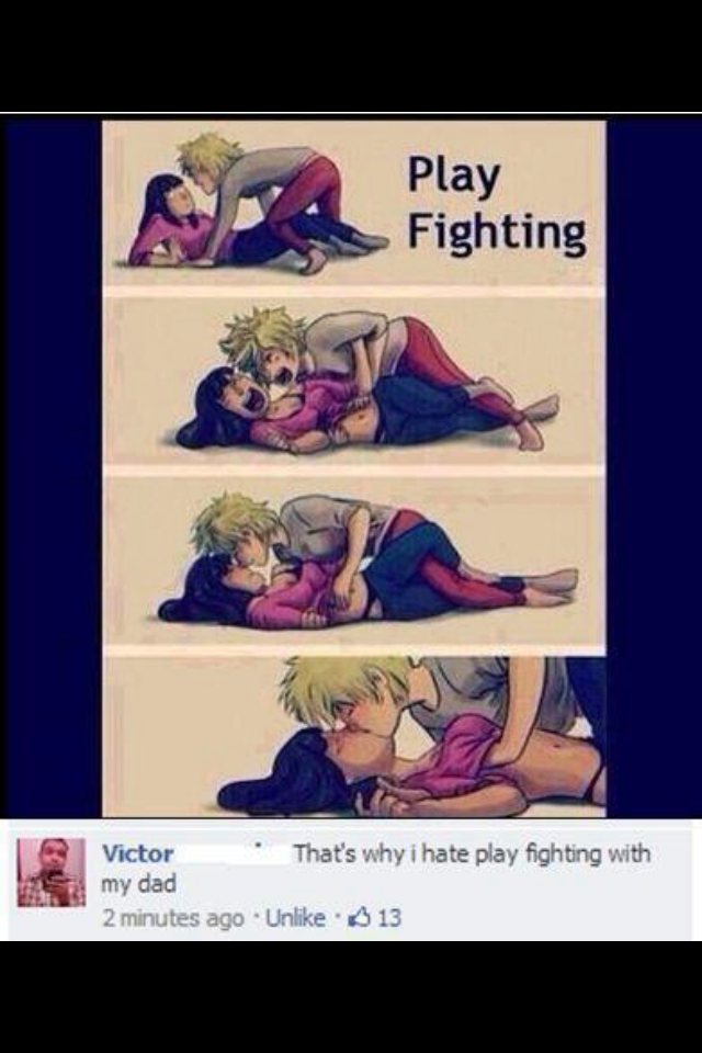 play fighting, facebook, comic, girl, guy, grope, kiss, dad, wtf, lol