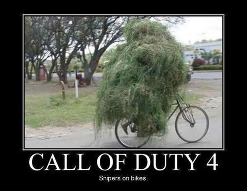 call of duty, motivation, bicycle, camouflage, plant, bush, wtf