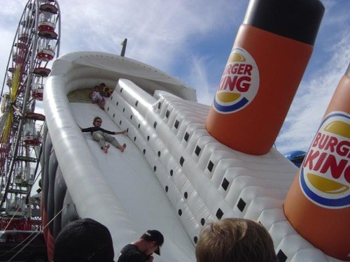 titanic, inflatable ship, burger king, tragedy, kid, slide
