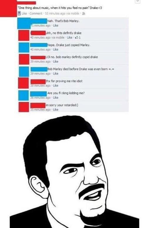 bob marley, drake, facebook, stupid, fail