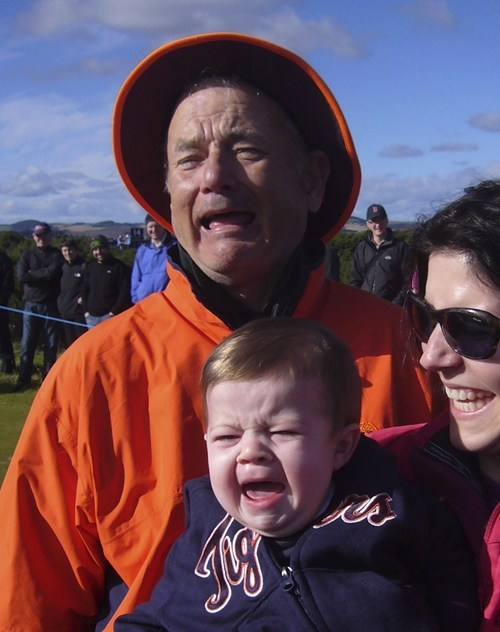 bill murray, baby, cry