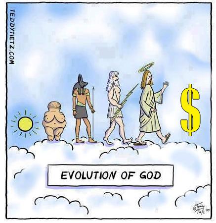 god, evolution, money