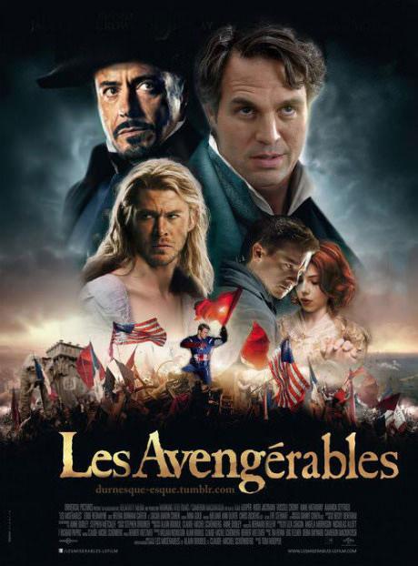 movie poster, photoshop, parody, avengers, miserables