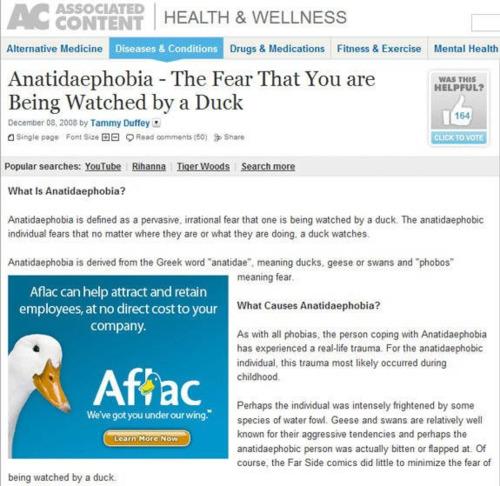 duck ad on fear of ducks page, anatidaephobia, phobia, wtf