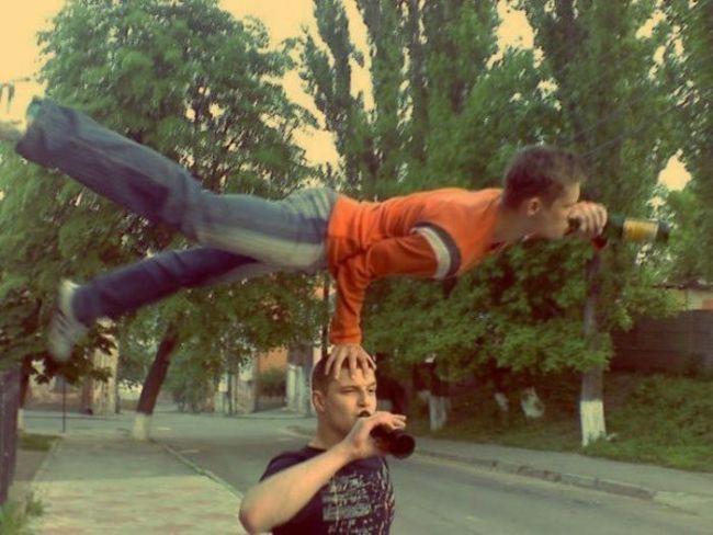balance, acrobat, beer, drinking, extreme