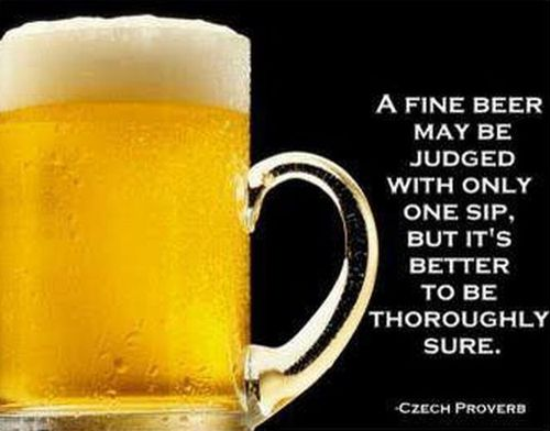 a fine beer may be judged with only one sip, but it is better to be thoroughly sure