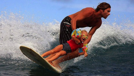 surfing, parenting, win, father