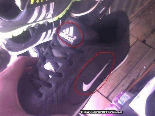 nike, adidas, knock off, fake, shoes, fail