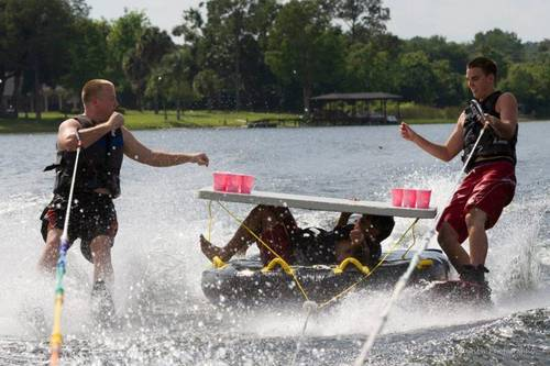 water skiing, beer pong, table, tube, wtf, lol