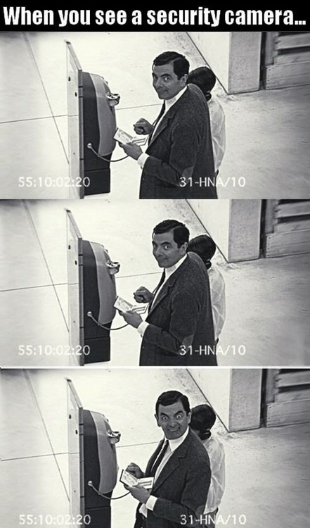 mr bean, security camera, funny face