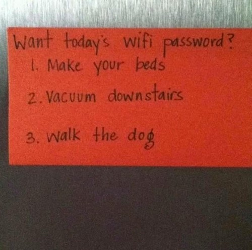 parenting win, wifi password, chores