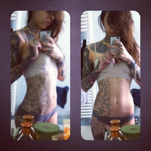 selfie, mirror, tattoo, hot
