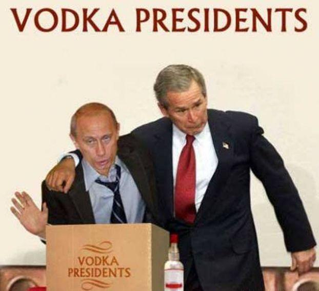 george bush, vladamir putin, presidents, vodka, face
