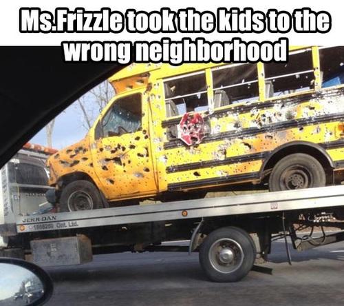 meme, ms frizle, magic school bus, damage, bullet holes, wtf