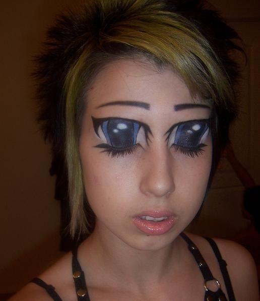 makeup, eyes, anime, girl