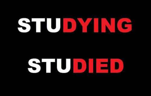 studying, studied, dying, died, word