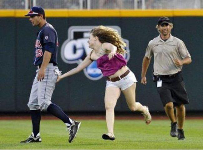 baseball, ass grab, woman